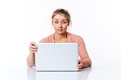 Häpet sammanträde för ung kvinna på det rena skrivbordet som stirrar på datoren Royaltyfri Fotografi