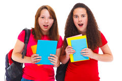 Häpna tonårs- flickor Arkivfoto