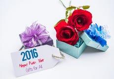 Hppy新年2016年 卡片和玫瑰,爱消息的空白 免版税库存图片