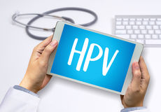 HPV CONCEPT Virus vaccine with syringe HPV criteria for pap smea Royalty Free Stock Photo