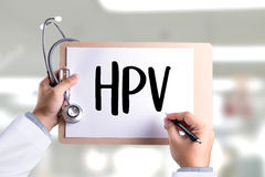 HPV CONCEPT Virus vaccine with syringe HPV criteria for pap smea Royalty Free Stock Image