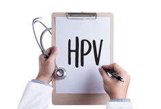 HPV CONCEPT    Virus vaccine with syringe  HPV criteria for pap Royalty Free Stock Photos