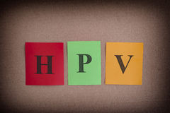 HPV Human Papillomavirus. Colorful paper notes with abbreviation HPV Stock Photos