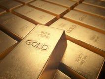hq золота штанг 3d представляет ультра Стоковые Фото