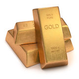hq золота штанг 3d представляет ультра Стоковое Изображение