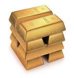 hq золота штанг 3d представляет ультра Стоковое Изображение RF