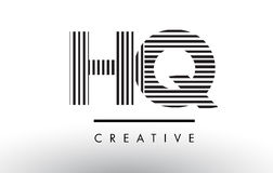 HQ H Q Black and White Lines Letter Logo Design. HQ H Q Black and White Letter Logo Design with Vertical and Horizontal Lines stock illustration