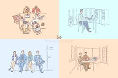 HR agency searching workers, candidates waiting for job interview, business meeting, employer hiring employee banner. Partnership, employment service concept stock illustration