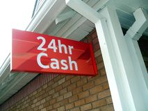 24hr cash. sign. cash machine sign. ATM sign. A sign of a cash machine serving the public for 24 hours Stock Photography