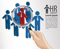 HR concept hand hold magnifying glass royalty free illustration