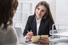 HR department employee is flirting with the candidate Stock Image