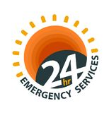24hr emergency services logo. For open everyday graphic icon. Vector illustration about emergency services Royalty Free Stock Photography