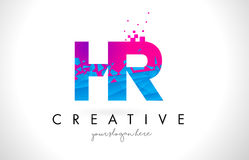 HR H R Letter Logo with Shattered Broken Blue Pink Texture Desig Royalty Free Stock Photo