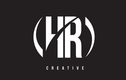 HR H R White Letter Logo Design with Black Background. Stock Photo