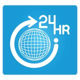 24 hr. 24 hours with globe symbol in blue button Stock Image