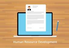 Hr human resource development. Laptop notebook pencil Royalty Free Stock Photo