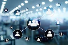 HR - Human resources management concept on blurred business center background.  stock illustration