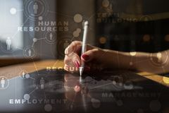 HR Human resources management. Recruitment, Hiring, Team Building. Organisation structure. HR Human resources management. Recruitment Hiring, Team Building royalty free stock image
