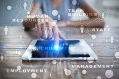 HR Human resources management. Recruitment, Hiring, Team Building. Organisation structure. HR Human resources management. Recruitment Hiring, Team Building stock photo
