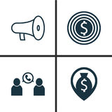Hr Icons Set. Collection Of Bullhorn, Goal, Navigation And Other Elements. Also Includes Symbols Such As Bullhorn, Money. Hr Icons Set. Collection Of Bullhorn Stock Image