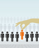 HR job concepts. The selection of best candidate. orange human sign as a symbol of chosen one by the recruiter Royalty Free Stock Photography