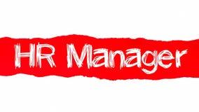 HR kierownika słowa pojęcie HR kierownika tekst pojawiać się za czerwień drzejącym papierem obraz stock