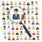 HR looking for worker in crowd. HR with magnifier looking for worker in crowd Stock Images