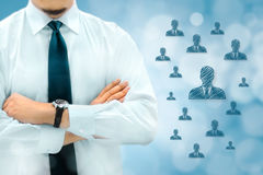 HR managementor marketing customer segmentation concept. Businessman silhouette in bacground. Manager thinks about eemployees or royalty free stock photos