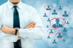 HR managementor marketing customer segmentation concept. Businessman silhouette in bacground. Manager thinks about eemployees or. Customers royalty free stock photos