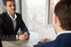 HR manager asking applicant about work experience royalty free stock image