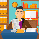 HR manager checking files. A human resources manager reading application portfolios on the background of office vector flat design illustration. Square layout Royalty Free Stock Photo