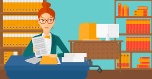 HR manager checking files. A human resources manager reading application portfolios on the background of office vector flat design illustration. Horizontal Royalty Free Stock Photos