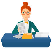 HR manager checking files. A human resources manager reading application portfolios vector flat design illustration isolated on white background Stock Photography