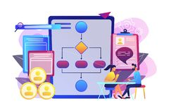 Employee assessment software concept vector illustration. HR manager with employee at interview and business flow chart. Employee assessment software, HR vector illustration