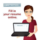 HR manager hires a Professional for the position. Cute manager holding laptop with resume, Staff recruitment, CV Royalty Free Stock Photography