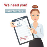 HR manager hires a Professional for the position. Cute manager holding resume, CV, Staff recruitment, Vacancy Royalty Free Stock Photos