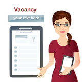 HR manager hires a worker for the vacancy, Staff recruitment. Cute office woman, vacancy, resume, we`re hiring stock illustration