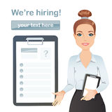 HR manager hires a worker for the vacancy, Staff recruitment, Resume Royalty Free Stock Images