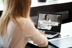 HR manager opens available company vacancy, job offer online, cl. HR manager opens available vacancy on web service, businesswoman looking for professional staff royalty free stock photography