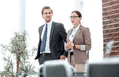 HR Manager is talking to the new employee. royalty free stock photos