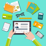 HR manager working with CV concept stock illustration