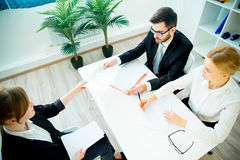 HR managers on interview. Two HR managers are conducting a job interview royalty free stock photo
