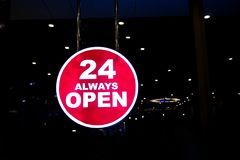 Always 24 hr. open sign stock photos