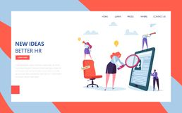 Hr Recruit Hire Talent Landing Page Template. Vacant Business Job Sign on Chair. Character Search Resume of Employee stock illustration