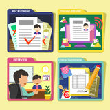 HR recruitment process icons set in flat design Stock Photo