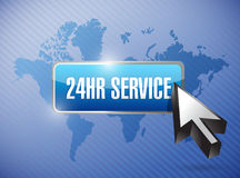 24hr service button illustration design. Over a world map background Royalty Free Stock Photography