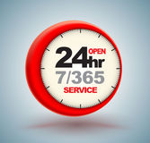 24hr services with clock. Scale logo 3d style. Vector illustration Royalty Free Stock Photography
