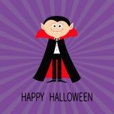 Hrabiowski Dracula jest ubranym czarnego i czerwonego przylądek Śliczny kreskówka wampira charakter z fangs Obrazy Stock