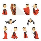 Hrabiowski Dracula jest ubranym czerwonego przylądek Set śliczne kreskówka wampira charakterów wektoru ilustracje ilustracji
