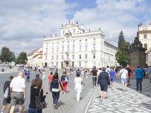 Hradčanské nám Street, Prague. Hradčanské nám Street in Prague. Prague is the capital and largest city of the Czech Republic. It is the 14th largest city Stock Photo